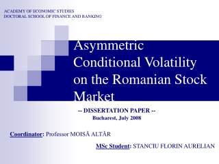 GARCH process and Value at Risk :An empirical analysis for Bucharest Stock Exchange Index- BET
