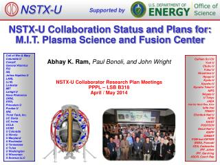 NSTX-U Collaboration Status and Plans for: M.I.T. Plasma Science and Fusion Center