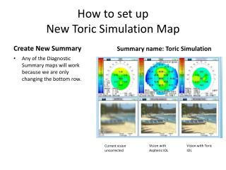How to set up New Toric Simulation Map