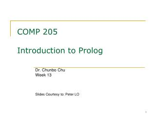 COMP 205 Introduction to Prolog