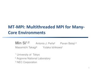 MT-MPI: Multithreaded MPI for Many-Core Environments