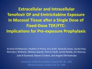 Truvada ® for prevention Tenofovir disoproxil fumarate (TDF) + Emtricitabine (FTC)