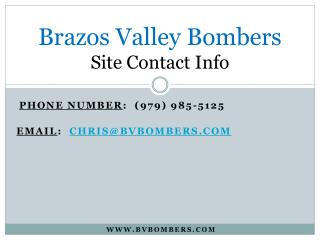 Brazos Valley Bombers Site Contact Info