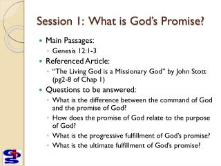 Session 1:  What is God's Promise?