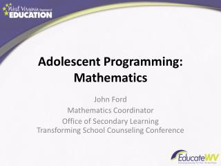 Adolescent Programming: Mathematics