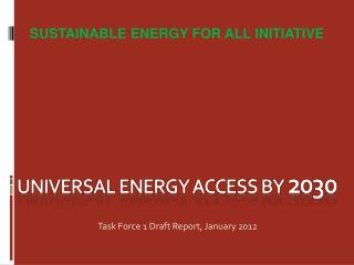 Universal Energy Access by  2030