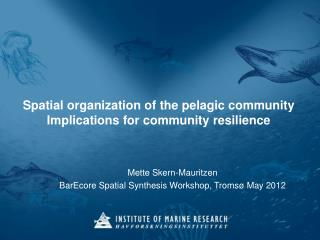 Spatial  organization of the pelagic community Implications  for  community resilience