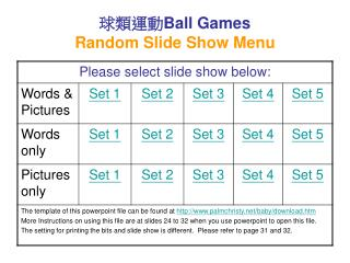 ???? Ball Games Random Slide Show Menu