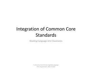 Integration of Common Core Standards