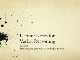 Lecture Notes for Verbal Reasoning