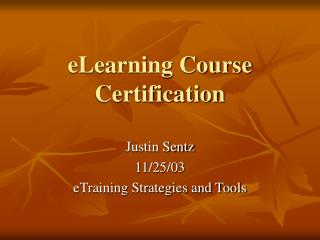 eLearning Course Certification