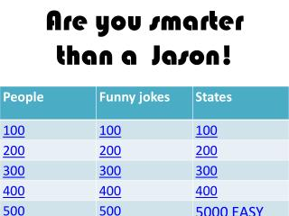 Are you smarter than a  Jason!