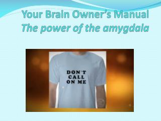 Your Brain Owner's Manual T he power of the  amygdala