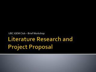 Literature Research and Project Proposal