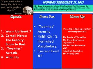 "Warm Up Week 7 Cornell Notes: The Century: Boom to Bust ""Twenties"" Acrostic   Wrap Up"