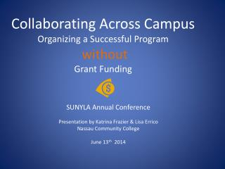 Collaborating Across Campus Organizing a Successful Program  without  Grant Funding