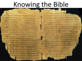 Knowing the Bible