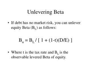 Unlevering Beta