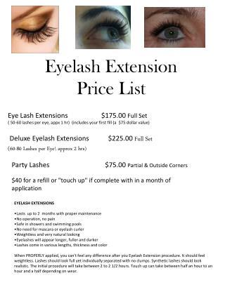 Eyelash Extension  Price List