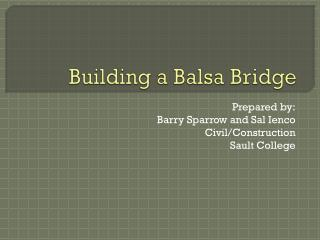 Building a Balsa Bridge