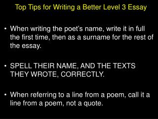 Top Tips for Writing a Better Level 3 Essay