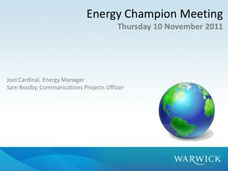 Energy Champion Meeting Thursday 10  November 2011