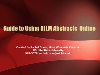 Guide to Using RILM Abstracts  Online