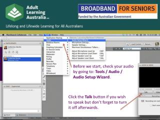 Before we start,  check your audio by going to:  Tools / Audio / Audio Setup Wizard .