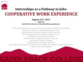 Internships as a Pathway to Jobs: COOPERATIVE WORK EXPERIENCE