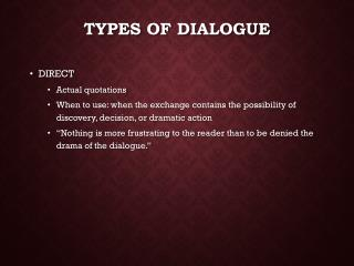 Types of Dialogue