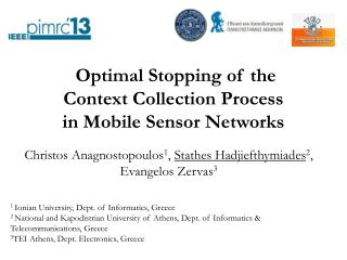 Optimal Stopping of the  Context Collection Process in Mobile Sensor Networks