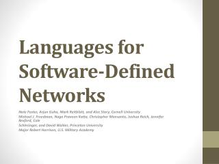 Languages for Software-Defined Networks