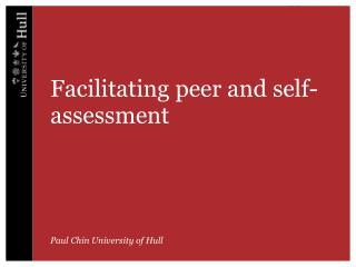 Facilitating peer and self-assessment
