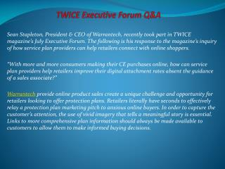 TWICE Executive Forum Q&A