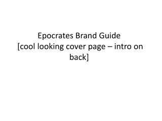 Epocrates Brand Guide [cool looking cover page – intro on back]