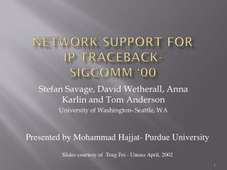 Network Support For  IP  Traceback - Sigcomm  '00