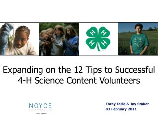 Expanding on the 12 Tips to Successful 4-H Science Content Volunteers