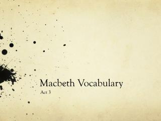 Macbeth Vocabulary