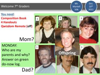 MONDAY: Who are my parents and why? Answer on green do-now log.