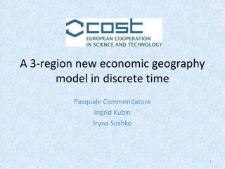 A 3-region new  economic geography  model in discrete time