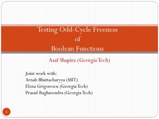 Testing Odd-Cycle Freeness of Boolean Functions