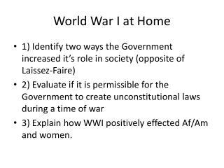 World War I at Home