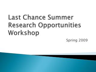 Last Chance Summer Research Opportunities Workshop