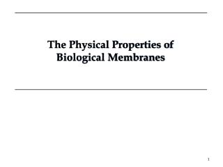 The Physical Properties of Biological Membranes