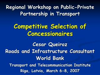 Competitive Selection of Concessionaires