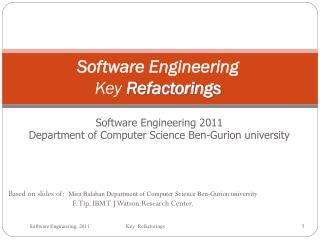 Software Engineering Key  Refactorings