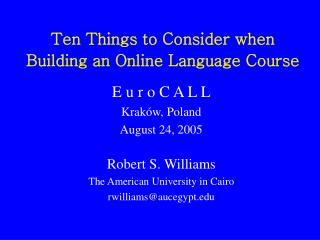 Ten Things to Consider When Building an Online Language Course