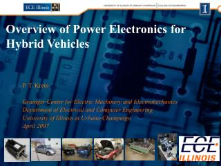 Overview of Power Electronics for Hybrid Vehicles