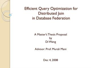 Efficient Query Optimization for Distributed Join in Database Federation