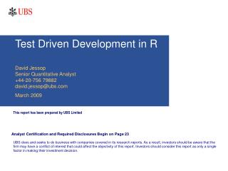 Test Driven Development in R